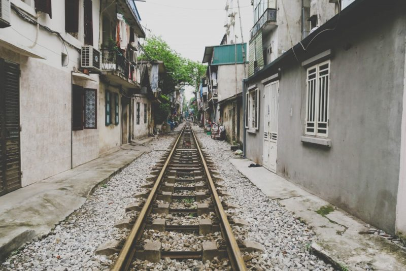 A street and train track